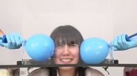 【衝撃変顔動画】風船パンパン顔面変形! 月野ゆりあ