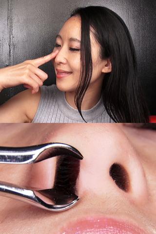 美人お嬢様の鼻穴から垂れ落ちるクリスタル鼻水