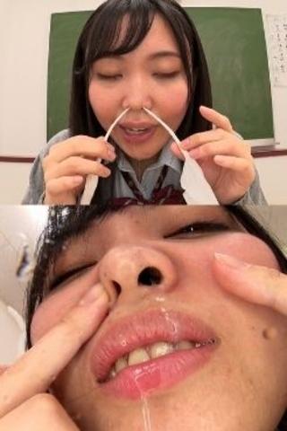 【鼻・鼻水】女子校生、芽愛里のくしゃみからの鼻水観察