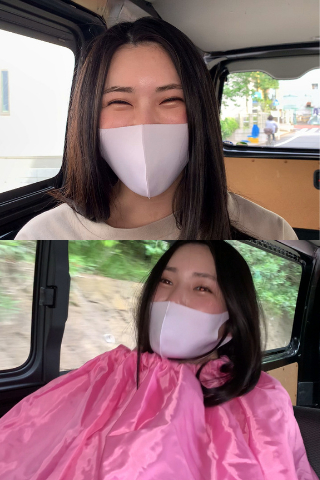 塩見彩のランニング後のすみれ色フィットマスク