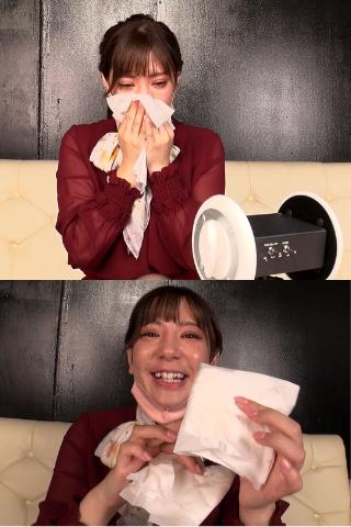 上玉美容部員!!美咲さんが鼻をガンガンかんだティッシュペーパー(左側の鼻水)
